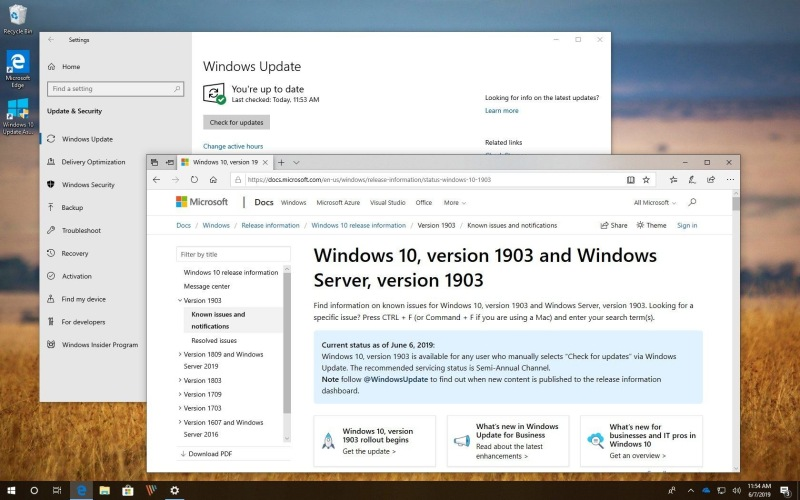 Windows 10 версии 1903 стала доступна для всех